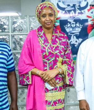 Ms Hadiza Bala Usman, with officials of Maritime Workers Union of Nigeria