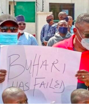 Uche Secondus leads a protest
