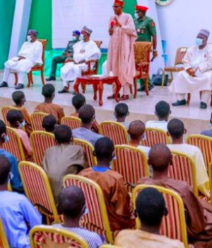 President Buhari addressing released Government Science Secondary School, Kankara, Katsina state,