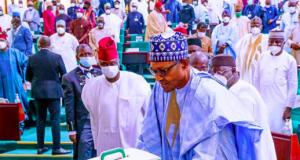 President Buhari laying the budget