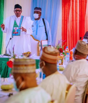 President Buhari addressing stakeholders in Daura