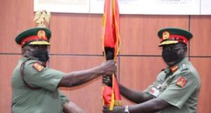 Maj.-Gen. Ibrahim Attahiru with outgoing Tukur Buratai