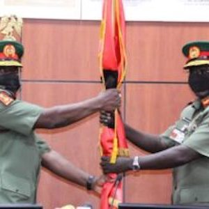 Maj.-Gen. Ibrahim Attahiru with outgoing Tukur Buratai