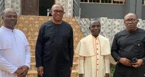 L-R; Fr. Sylvester Dunu, Mr. Peter Obi, Msgr Sylvester Mgbemfulu and Mr. Celestine Oguegbu when Obi paid a visit to Msgr. Mgbemfulu at St. Theresa's Catholic Church, Nibo