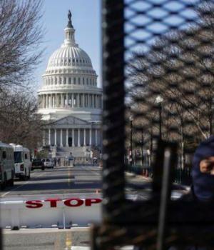 Capitol police secure the area ahead of U.S. President-elect Joe Biden's inauguration