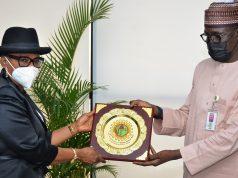 Pro-Chancellor, Usmanu Danfodiyo University, Sokoto, Hon. Justice Pearl Enejere with NNPC GMD Mallam Kele Kyari