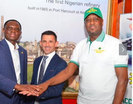 L-R: NNPC Chief Operating Officer, Refineries & Petrochemicals, Engr. Mustapha Yakubu, representative of Tecnimont S.P.A. (the contractor), Mr. Masu Alberto, and Managing Director, Port Harcourt Refining Company, Engr. Ahmed Dikko, pledging to make the rehabilitation project a success