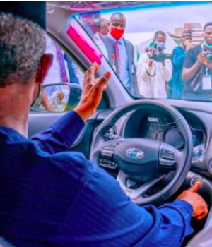 Osinbajo test drives Nigerian-Made car