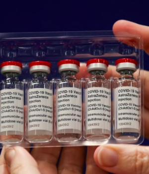Vials with AstraZeneca's coronavirus disease (COVID-19) vaccine are seen at the vaccination centre in the Newcastle Eagles Community Arena,