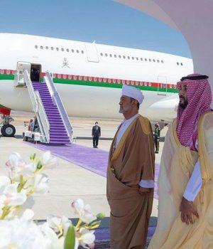 Crown Prince Mohammed bin Salman bid farewell to Sultan Haitham as he left on Monday.
