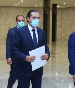 Lebanese Prime Minister-Designate Saad Al-Hariri arrives to meet with Lebanon's President Michel Aoun
