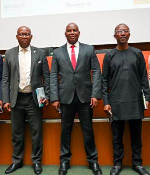 L – R: Dr. Steve Ogidan, CEO Successory Nig Ltd; Osita Nwanisobi, Ag. Director, Corporate Communications, CBN; Aliyu Abdulhameed, MD/CEO NIRSAL Plc; Adekunle Adebiyi, Chief Sales & Distribution Officer, MTN Nigeria and Isaiah Bendi, MD/CEO FBIS Technology