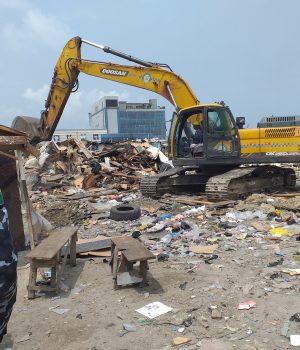 Shanties under demolition