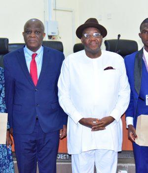 FUTA VC, Professor Joseph Fuwape, Ambass. Godknows Igali, and the winners