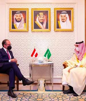 Saudi Foreign Minister Prince Faisal bin Farhan holds talks with his Austrian counterpart Alexander Schallenberg.